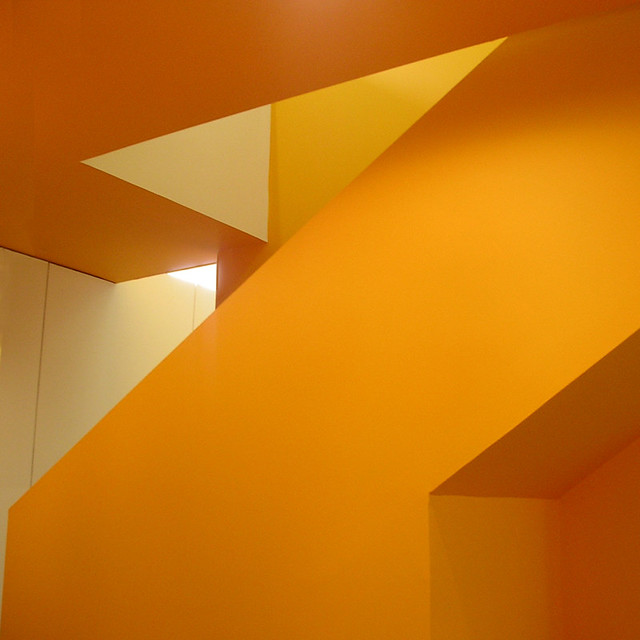 hyndland after school club - afty - child care glasgow, orange stair, orange walls, orange sculpture, glasgow architects, abbozzo