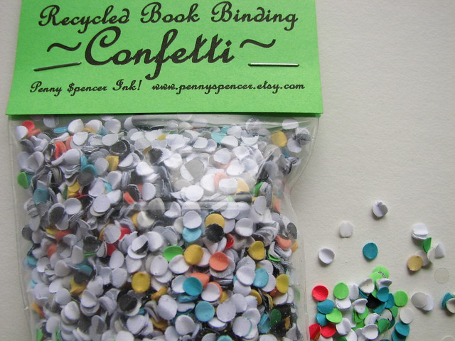 recycled book binding confetti