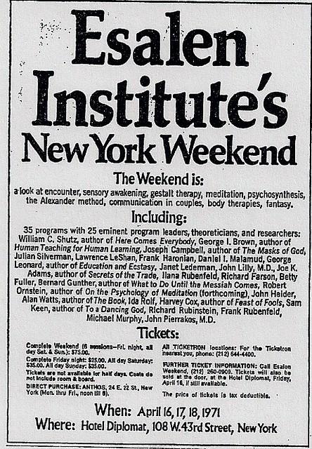 04/16-18/71 Esalen Institute Seminar @ Hotel Diplomat (AD)