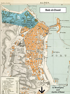 1888 Plan of Algiers, Algeria--Bab el-Oued region, Mustapha, and Jardin d'Essai