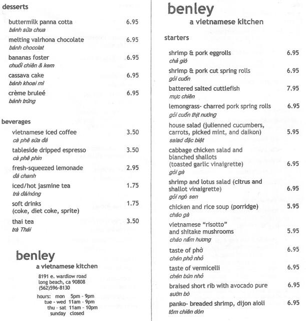 Benley Vietnamese Kitchen Menu Page 1
