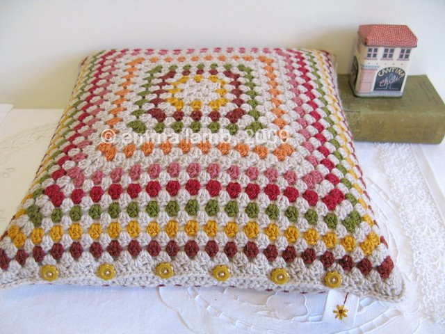 Eleanor crochet cushion by Emma Lamb