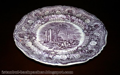 antique fine porcelaine plate with drawing acropolis. Black Bedroom Furniture Sets. Home Design Ideas