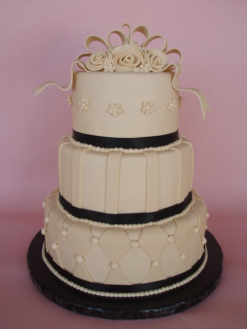 Ivory Black Wedding Cake A simple twist in color of my most popular