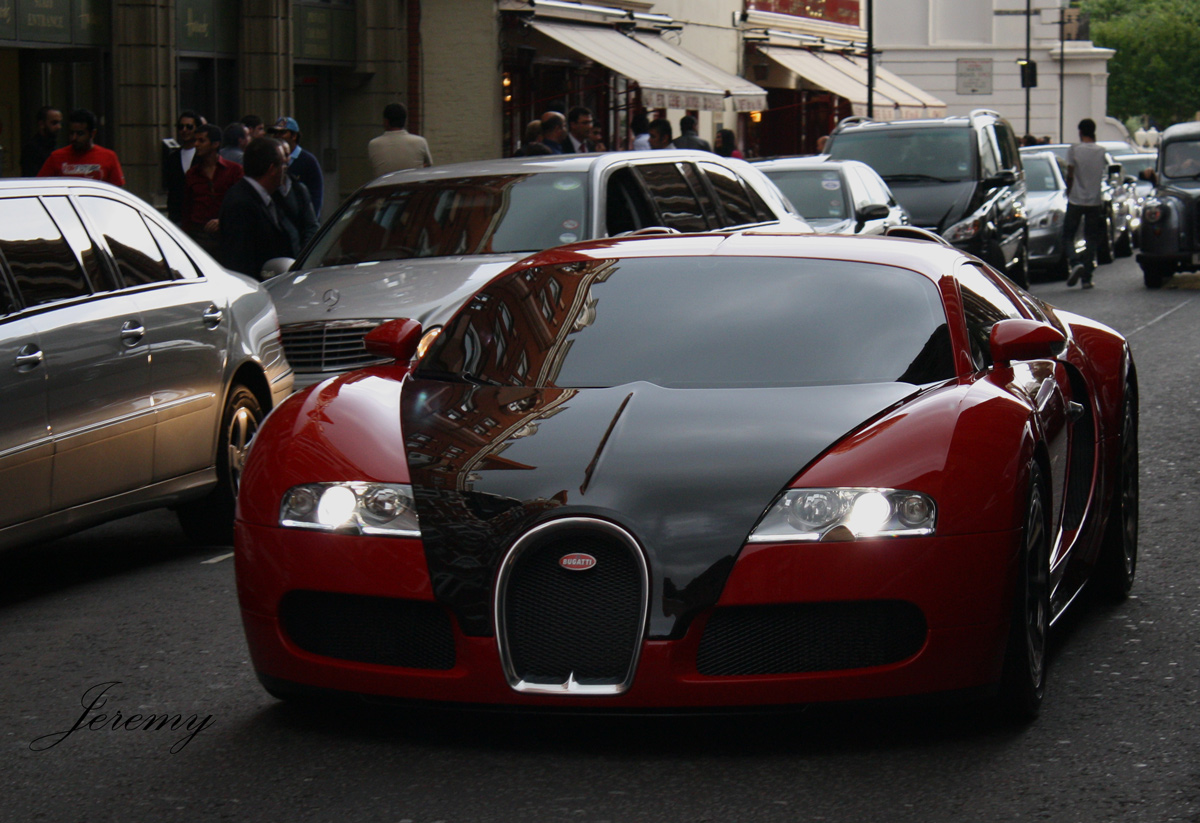 Red and Black Bugatti Veyron