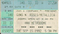09/15/92 Guns 'N' Roses/Metallica/Faith No More @ Minneapolis, MN (Ticket)