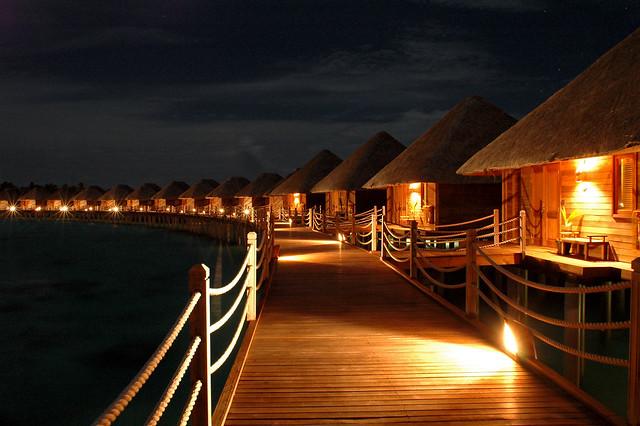 Water Villas by night