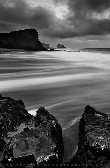 Panther Beach Stormy Sunset - Davenport, California