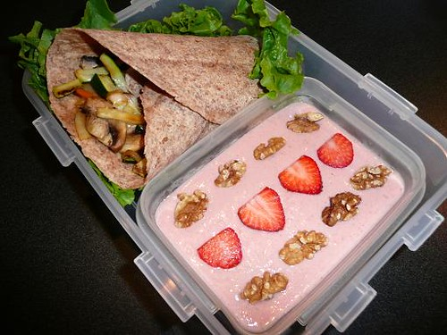 Bento #10 - Grilled Veggie Wrap & Mango and Strawberry Tofu Pudding
