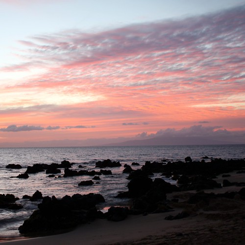 The sky after sunset at Keawakapu Sunset in South Maui.