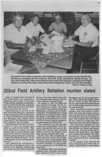 Newspaper clipping of the last reunion