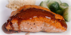 salmon-like fish(0.0), fish(0.0), pork chop(0.0), produce(0.0), meal(1.0), salmon(1.0), glaze(1.0), roasting(1.0), fish(1.0), meat(1.0), food(1.0), dish(1.0), cuisine(1.0), smoked salmon(1.0),