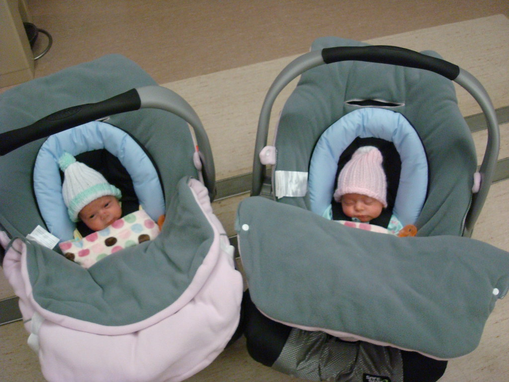 Bundled Up And Ready To Go Just Barely Fitting Into The Infant Car Seats Fuzzy Fleece Liners