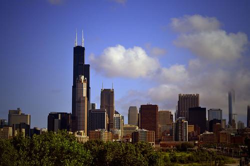 Chicago skyline from the orange line train