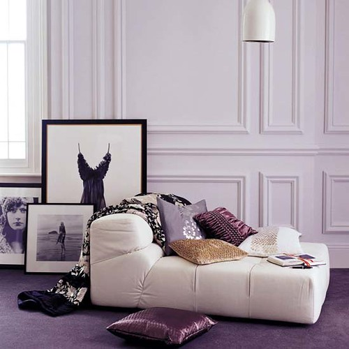 Glamorous cream and purple living room flickr photo for Purple and cream living room ideas