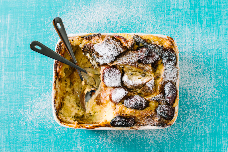 Bread and Butter Pudding with Sourdough and Sugar Plums