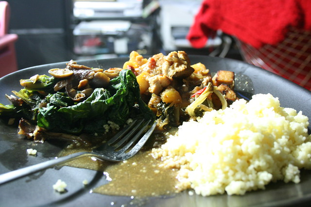 Leftover Pineapple Tofu Curry with Couscous and leftover Spinach with ...