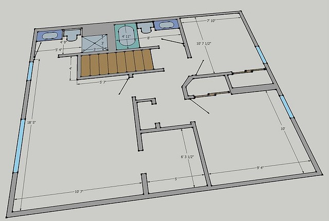 Second level floor plan i used google sketchup to create t flickr photo sharing for How to design a floor plan in sketchup