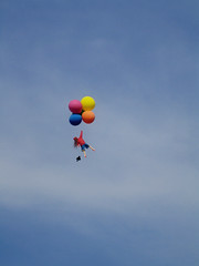 aircraft(0.0), parachute(0.0), hot air balloon(0.0), wing(0.0), vehicle(0.0), parachuting(0.0), hot air ballooning(0.0), toy(0.0), air sports(1.0), extreme sport(1.0), balloon(1.0), blue(1.0), sky(1.0), flight(1.0),