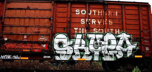 railroad overgrown logo geotagged graffiti weeds kentucky tag tracks railway motto tags tagged railcar rusted rails weathered spraypaint boxcar graff graphiti trainart westernkentucky paintedtrain railart spraypaintart reflectivetape southernservesthesouth owensborokentucky retribalize dmak wafflecar daviesscountykentucky taggedboxcar paintedboxcar doctorscrew paintedrailcar taggedrailcar southernboxcar geo:lon=87092636 geo:lat=3776873
