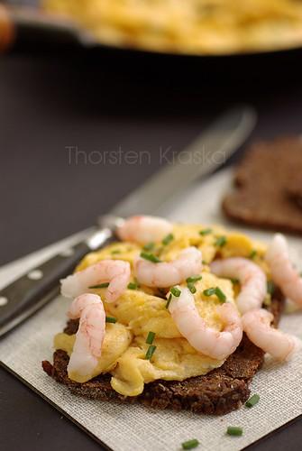 Prawns and scrambled eggs