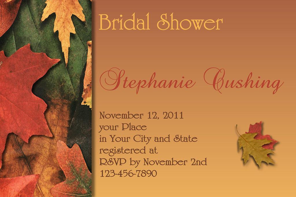 Orange And Green Wedding Invitations: #C59 Thanksgiving, Autumn, Fall, Leaves, Burnt, Orange