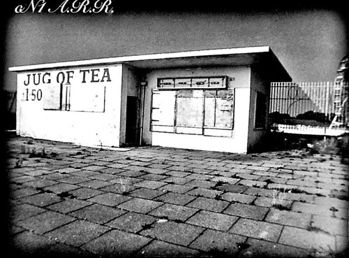 """ Jug Of Tea £ 1 .50 Disused Cafe  "" - Morecambe : Kodak BW + 400 Film :"