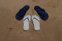 hand(0.0), outdoor shoe(0.0), finger(0.0), shoe(0.0), leather(0.0), limb(0.0), leg(0.0), human body(0.0), footwear(1.0), sandal(1.0), flip-flops(1.0), blue(1.0),
