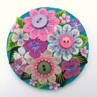 FELT ABUNDANCE BROOCH WITH FREEFORM EMBROIDERY