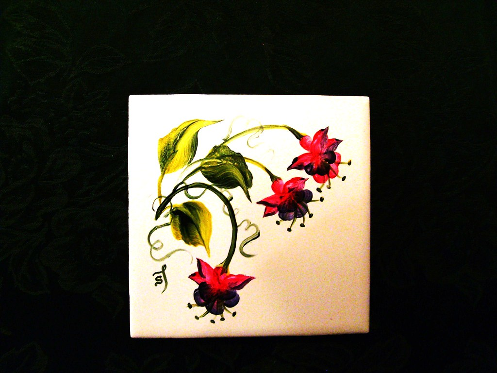 hand painted Fuchsia tile coaster