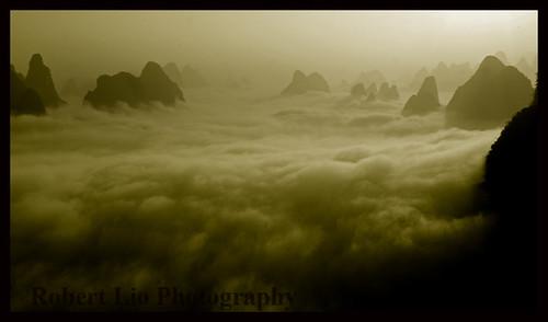 china morning mountains clouds sunrise paradise yangshuo guangxi robertlio