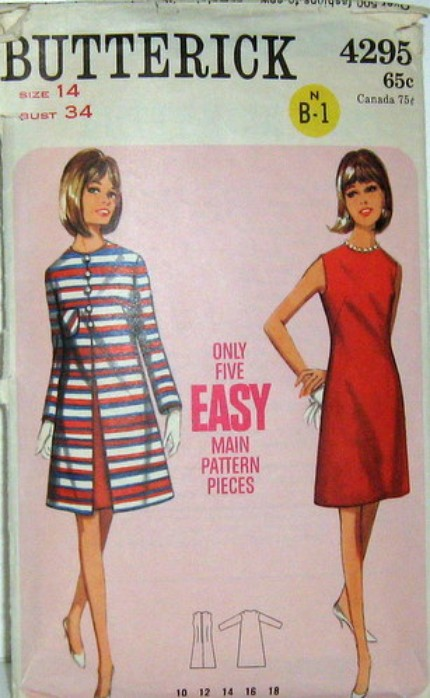 Vintage Butterick Pattern 4295 A LINE DRESS AND COAT 60s mod size 14 Bust 34 Waist 26 Hip 36