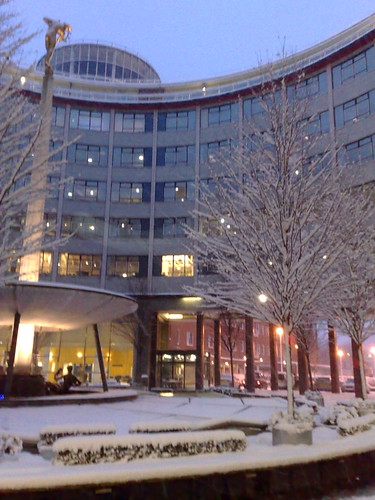 BBC Television Centre in the snow