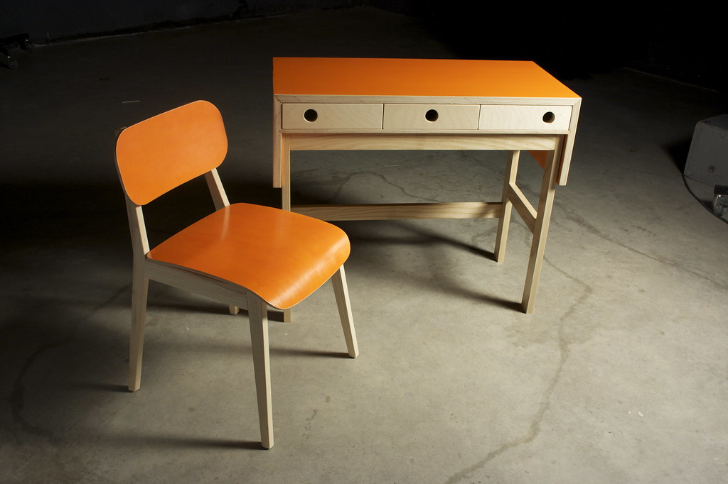 orange chair and desk family
