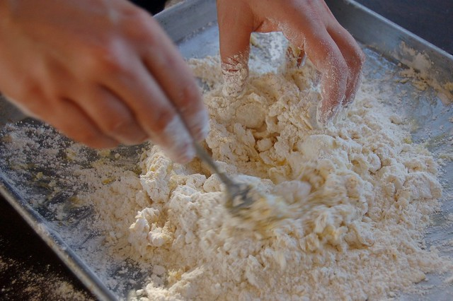 Mixing the dough together
