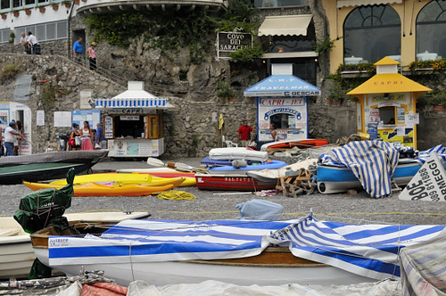 Boats on the beach at Positano, Italy by joeeisner