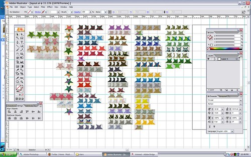11 Feb 2009 - 22:51 - This screenshot contains a scaled-down version of every star currently slated to appear in the quilt.  There's no particular order here, but it does let you see which fabrics got used the most.  Now all I need is a moment of inspiration...
