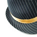 Small photo of Black Hat with Stripes and Gold Ribbon