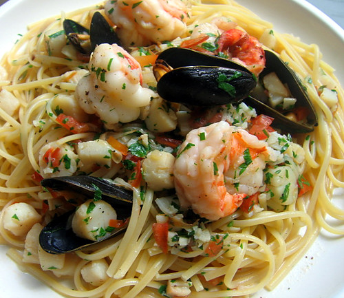 seafood scampi over linguine flickr photo sharing
