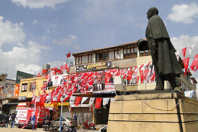 Statue of Kemal Ataturk with National Election Campaign Banners - Kilis - Turkey