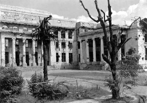 War damaged University of the Philippines, Library and Administration Building, October 5, 1945, Manila. Philippines