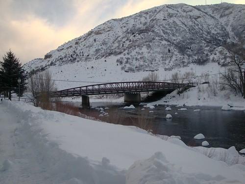 christmas bridge winter sunset snow river colorado stream hiking trail biking co durango hwy160 animasriver