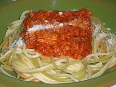 vegetable(0.0), meat(0.0), produce(0.0), tomato sauce(1.0), bucatini(1.0), spaghetti(1.0), pasta(1.0), bolognese sauce(1.0), food(1.0), dish(1.0), cuisine(1.0),