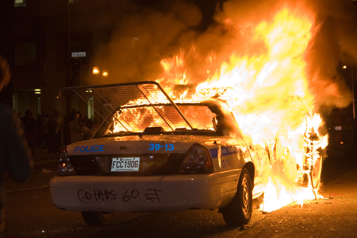 World Of Wheels Boston >> Montreal police car on fire | Flickr - Photo Sharing!