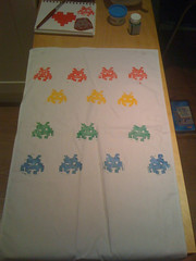 Space invader tea towel