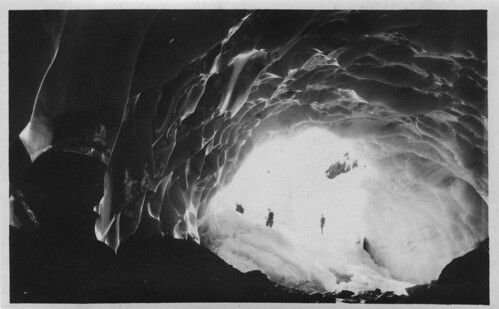 Mountaineers in ice cave, Paradise Glacier, Mt. Rainier