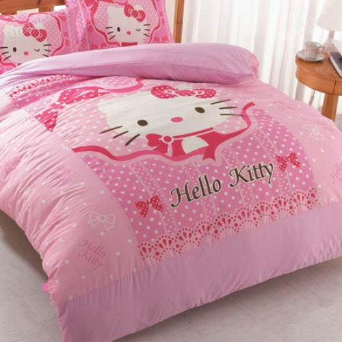 Hello Kitty Ribbon Single Bed Pillowcases Bedsheet Set S
