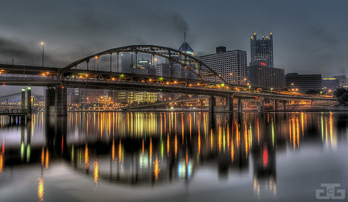 city morning bridge reflection beautiful skyline skyscraper sunrise river lights nikon pittsburgh pennsylvania explore reflexions hdr allegheny d40x