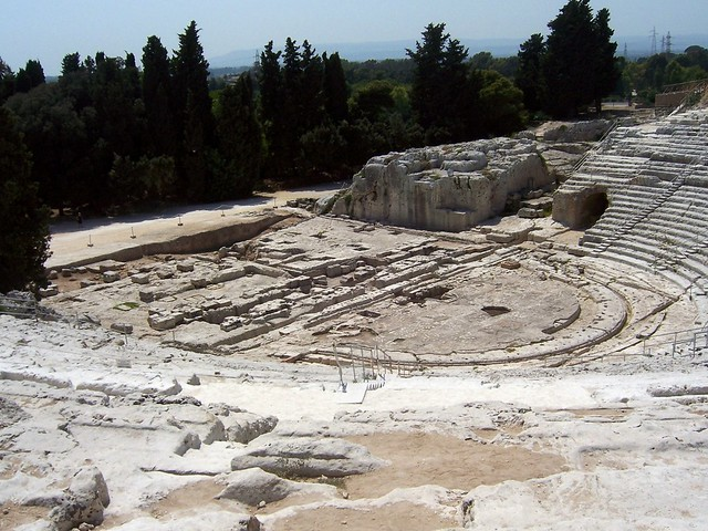 The Greco-Roman theatre, built in the 2nd century BC (ca. 238 - 215 BC) Archaeological Park of Neapolis, Siracusa, Sicily