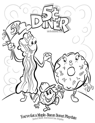 Bacon Coloring Page Donut Coloring Book Page